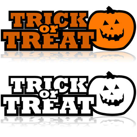carved pumpkin: Cartoon illustration showing a carved pumpkin beside the words Trick or treat