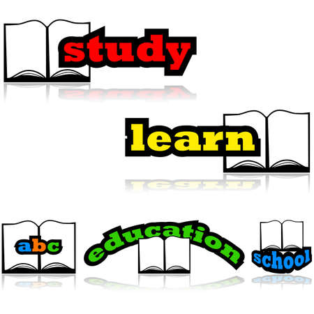 Concept illustration showing an open book with education related words combined with it