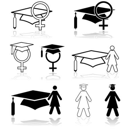 competitions: Concept illustration showing a graduation hat paired with graphic elements depicting women