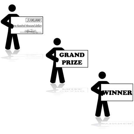 Concept illustration showing a stick figure character holding a cheque for being a Grand Prize winner in a contest