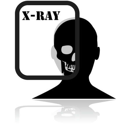 Icon showing a persons head with an X-ray plate in front of it displaying a skull