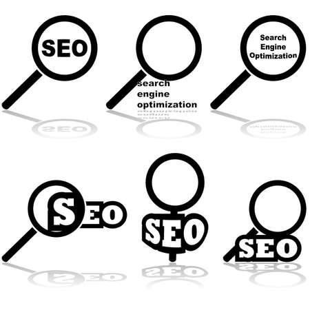 Icon set met een vergrootglas gepaard met de woorden 'Search Engine Optimization' en 'SEO'