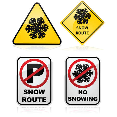 Icon set showing a series of traffic signs used for indicating a snow route and no parking rules Vector