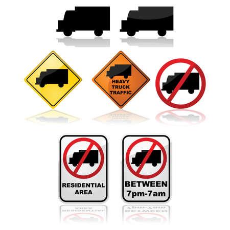 Icon set met verschillende borden met aanwijzingen voor vrachtwagens Stock Illustratie