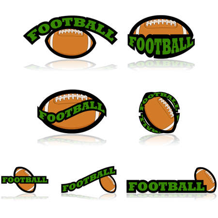 representations: Icon set showing an American football combined with different representations of the word football Illustration