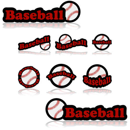 representations: Icon set showing a baseball combined with different representations of the word baseball