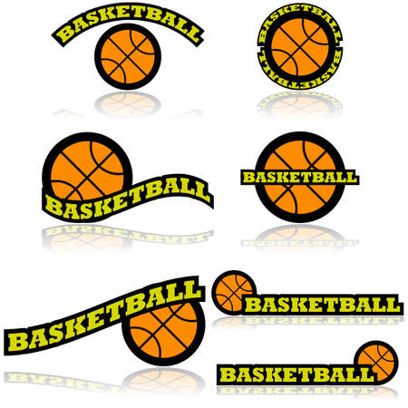representations: Icon set showing a basketball combined with different representations of the word basketball