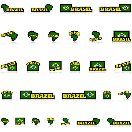 representations: Icon set showing the Brazilian flag and map combined with different representations of the word Brazil and its equivalent in Brazilian Portuguese, Brasil