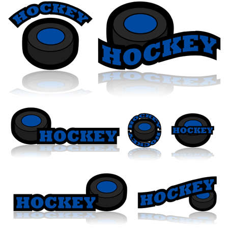 representations: Icon set showing a hockey puck combined with different representations of the word hockey Illustration
