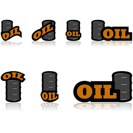 representations: Icon set showing a barrel of oil combined with different representations of the word oil Illustration