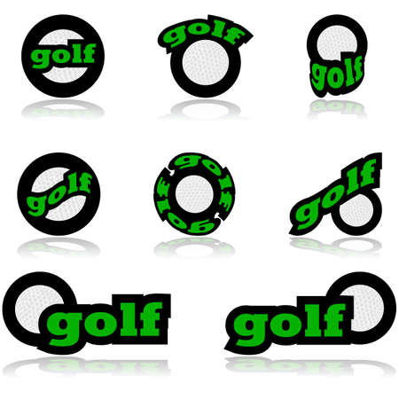 representations: Icon set showing a golf ball combined with different representations of the word golf