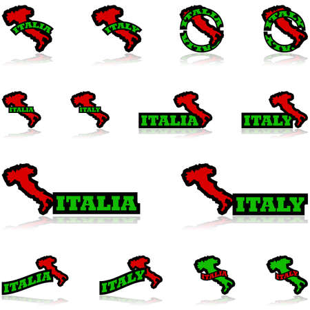 equivalent: Icon set showing the map of Italy combined with different representations of the word Italy and its equivalent in Italian, Italia.  Illustration