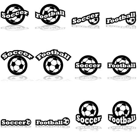 representations: Icon set showing a soccer ball combined with different representations of the word soccer and football