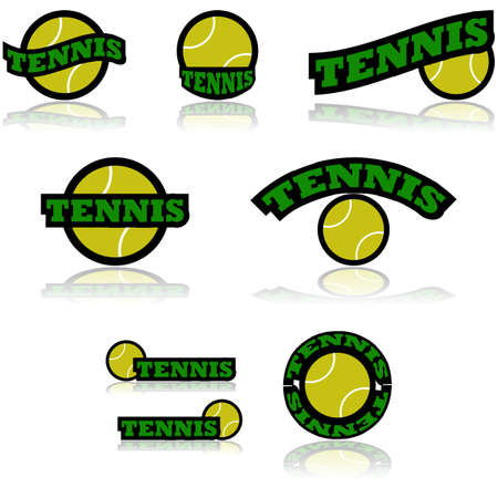 representations: Icon set showing a tennis ball combined with different representations of the word tennis