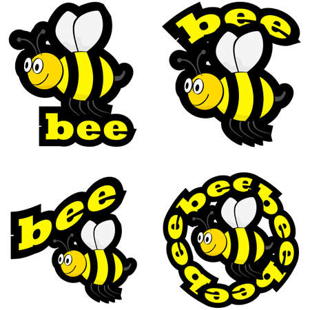 swarm: Icon set showing a cartoon bee flying, combined with different representations of the word bee Illustration