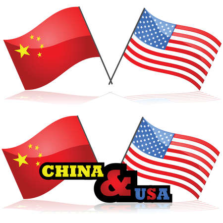 china business: Concept illustration showing the flag of China alongside the flag of the United States