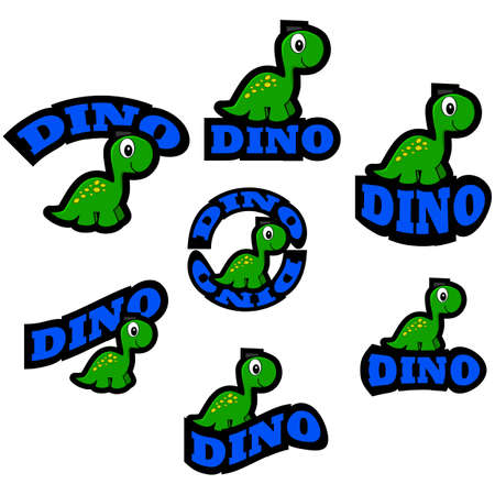 representations: Icon set showing a cute cartoon dinosaur combined with different representations of the word dino Illustration