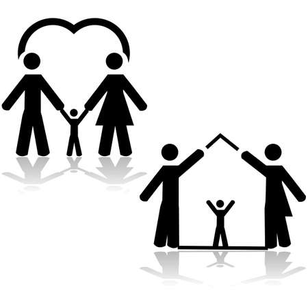 happy family house: Concept illustration showing the love of two parents for a child and also two parents forming a home with a child inside Illustration