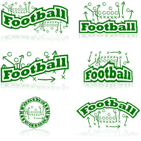Icon set showing drawings from a football tactic board, paired with different representations of the word football Vector