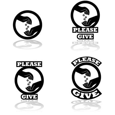 unfortunate: Icon set showing a hand dropping some coins on an open hand, indication donations