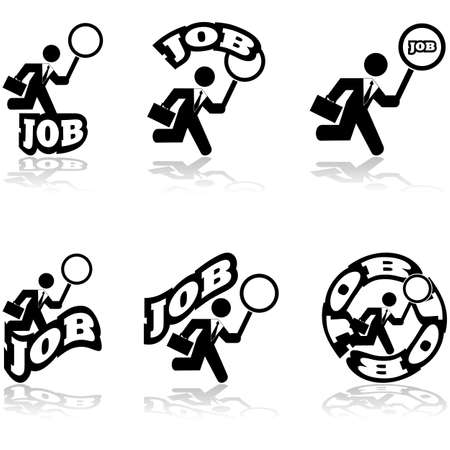 tough man: Icon set showing a businessman holding a giant magnifying lens, looking for a job