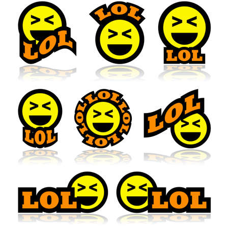 Icon set showing a face laughing hard, combined with different representations of the acronym LOL, for Laughing Out Loud