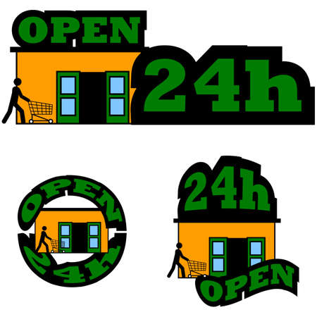 Icon set showing a person entering a store and the words Open 24h combined with it