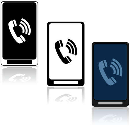 Illustration showing three different mobile phones with a transmitting phone icon  in the middle of them 向量圖像