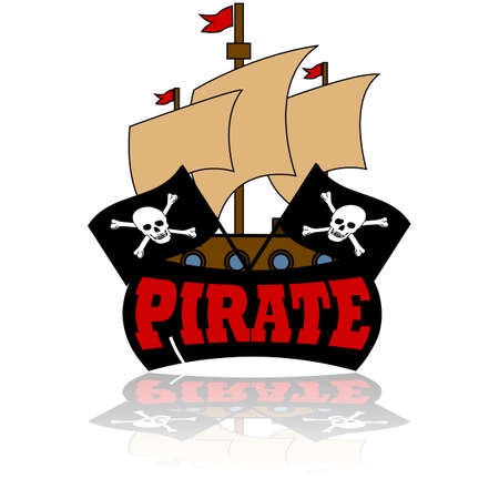 Cartoon illustration showing an icon of a pirate ship with two skull and bones flags in front of it, and the word pirate Vector