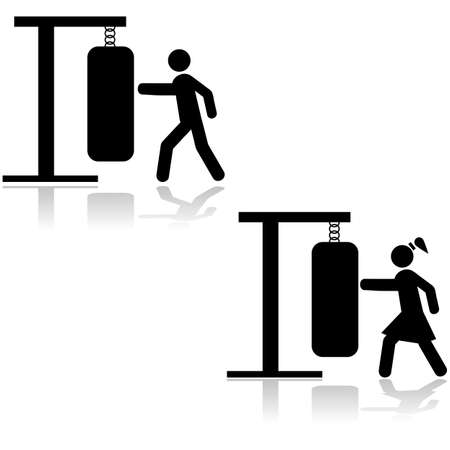 Icon illustration showing a man and a woman in a gym punching a sandbag