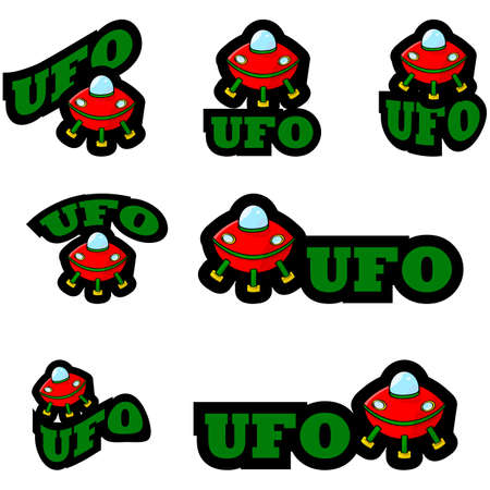 Icon set showing a cartoon alien ship combined with different representations of the word UFO