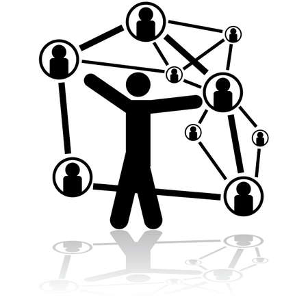 connexion: Concept illustration showing a person handling different people connections