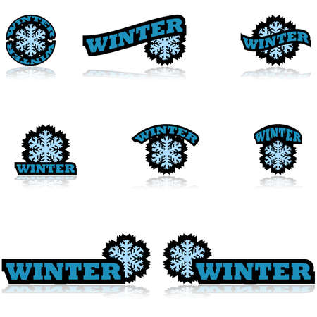 frigid: Icon set showing a snowflake paired with different variations of the word winter