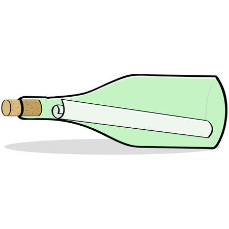 Cartoon illustration showing a rolled up piece of paper inside a bottle