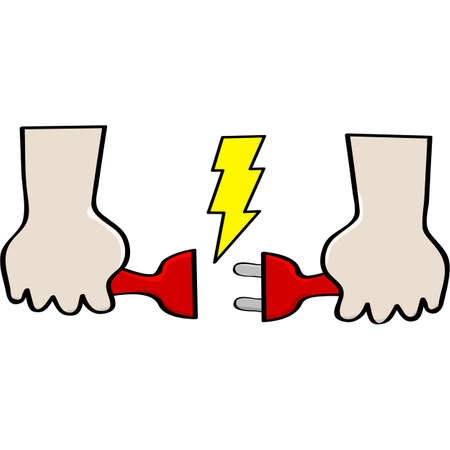 spark plug: Cartoon illustration showing two hands holding opposite ends of electrical cords about to connect them Illustration