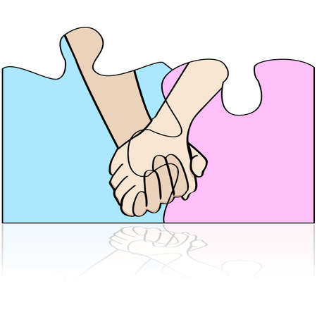 Concept illustration showing two holding hands connected in different pieces of a puzzle