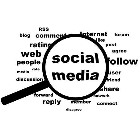 Concept illustration showing a word cloud and the expression Social Media highlighted inside a magnifying glass