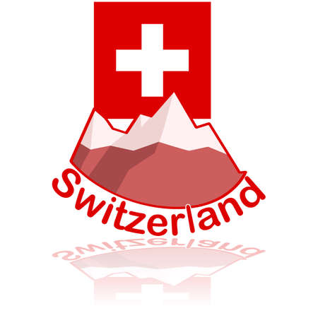 switzerland flag: Icon illustration showing some mountains in front of the flag of Switzerland, with the name Switzerland under them