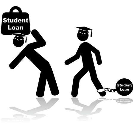 Illustratie toont een paar studenten het dragen van een zware last van de leningen voor studenten Stock Illustratie