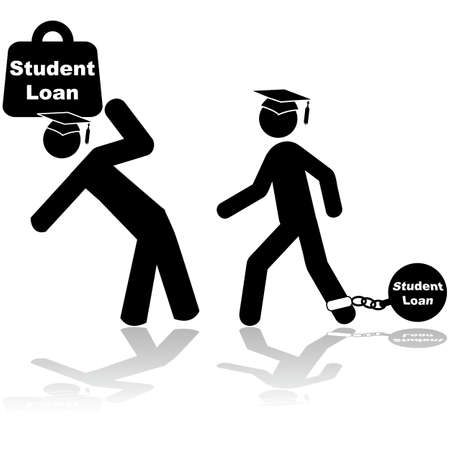 Icon illustration showing a couple of students carrying a heavy burden of student loans Illustration