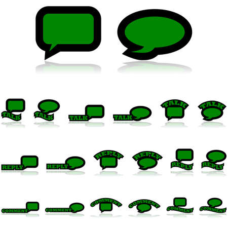 Icon set showing cartoon speech bubbles combined with different variations of the words Talk, Comment, and Reply Çizim