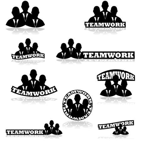 Icon set showing three business people together combined with different variations of the word teamwork