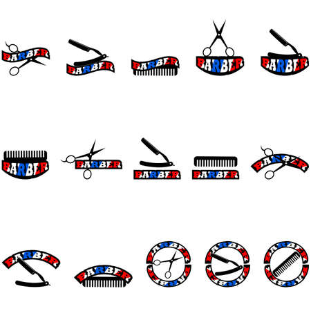 blade: Icon set showing a comb, scissors and a razor blade combined with different variations of the word barber