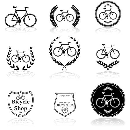 Icon set showing a bicycle combined with different design elements Vector