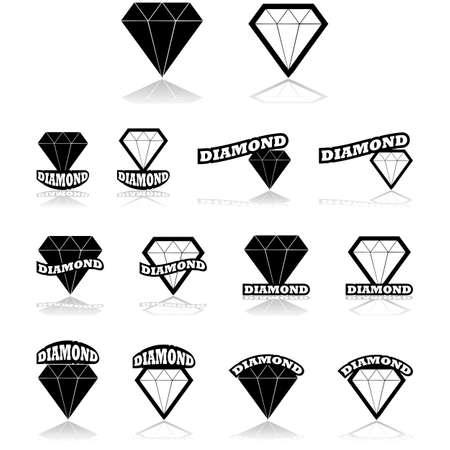 Icon set met een zwarte en een witte diamant gecombineerd met verschillende variaties van het woord diamant