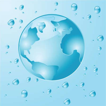 Concept illustratie toont een blauwe planeet Aarde gemaakt en omgeven door water druppels Stock Illustratie