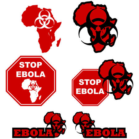 Concept illustration showing the map of Africa a biohazard sign and stop signs with the message to stop the spread of the ebola virus Vector