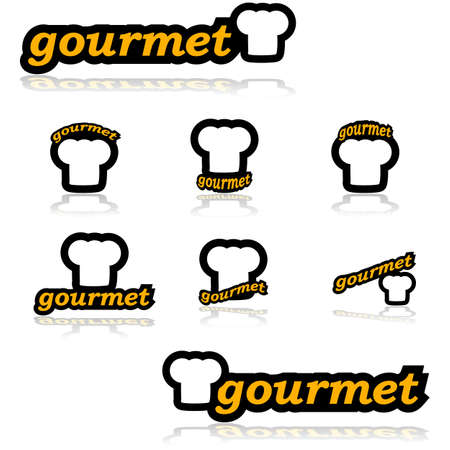 Icon set showing a chefs hat combined with different variations of the word gourmet