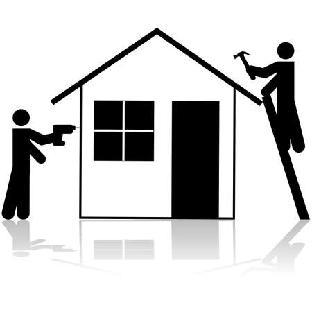 Icon showing a couple of handymen working on a house renovation project  Vector