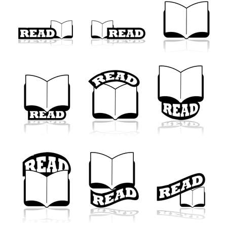 Icon set showing an open book combined with different variations of the word read